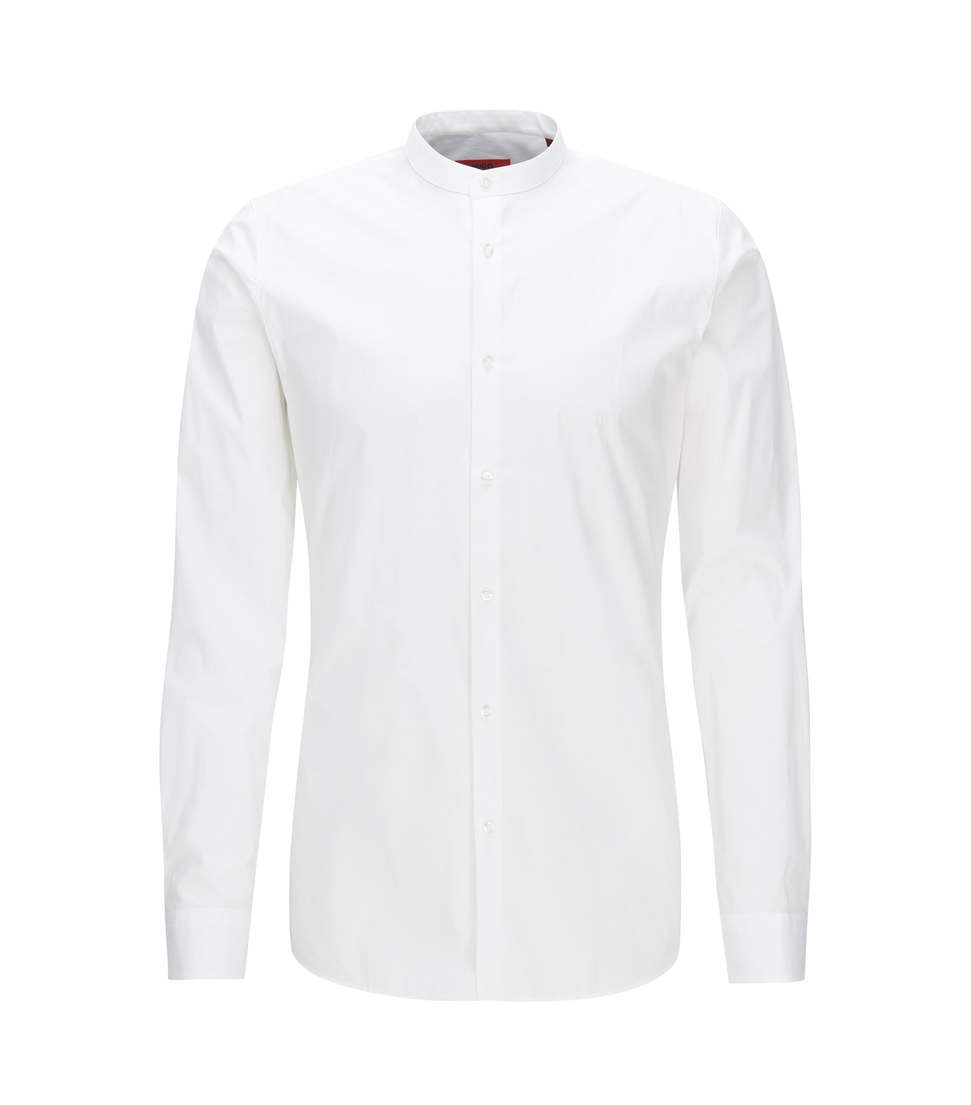 Chemise Extra Slim Fit à col mao en coton stretch, Blanc