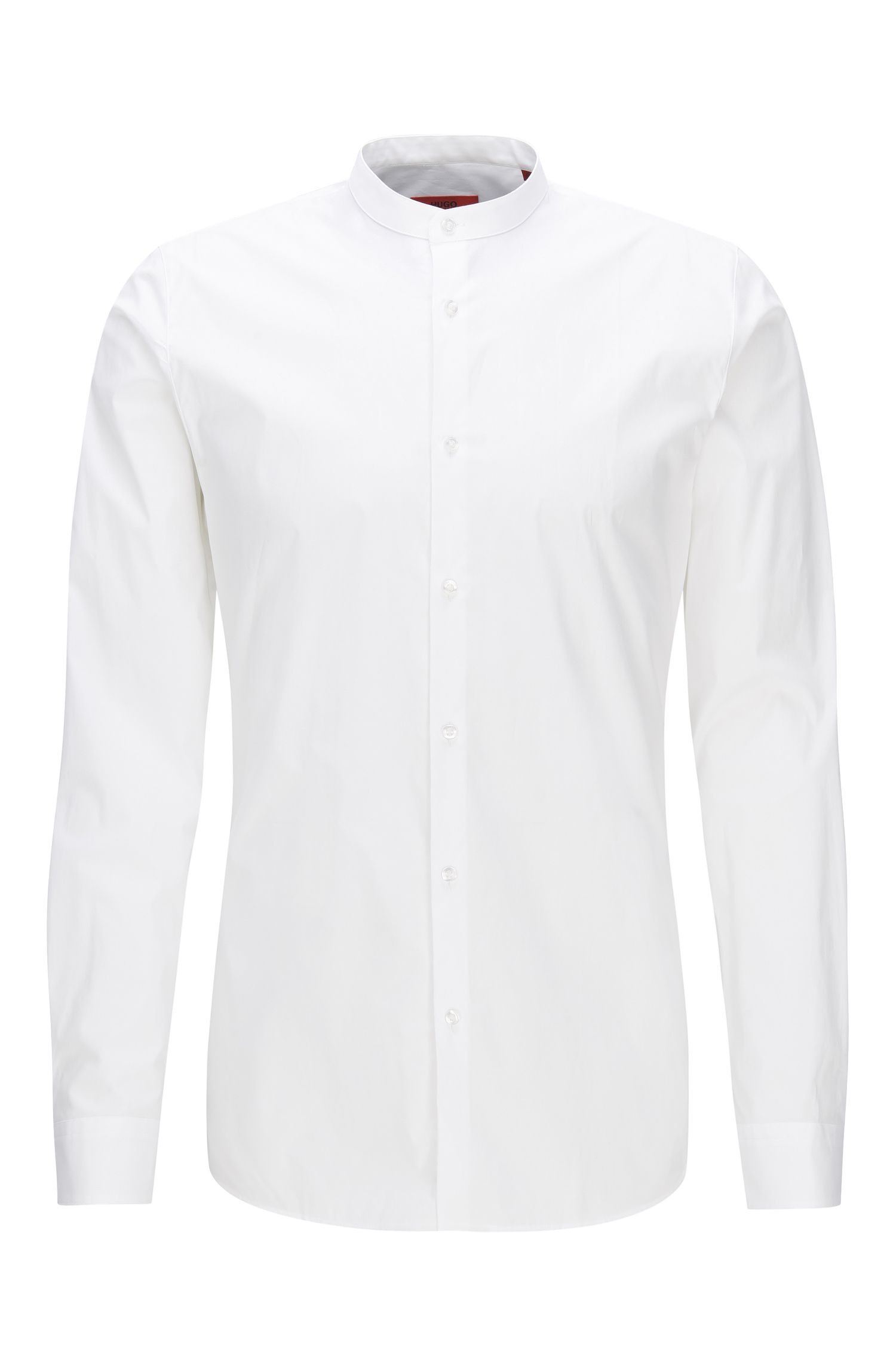 Extra-slim-fit stand-collar stretch cotton shirt