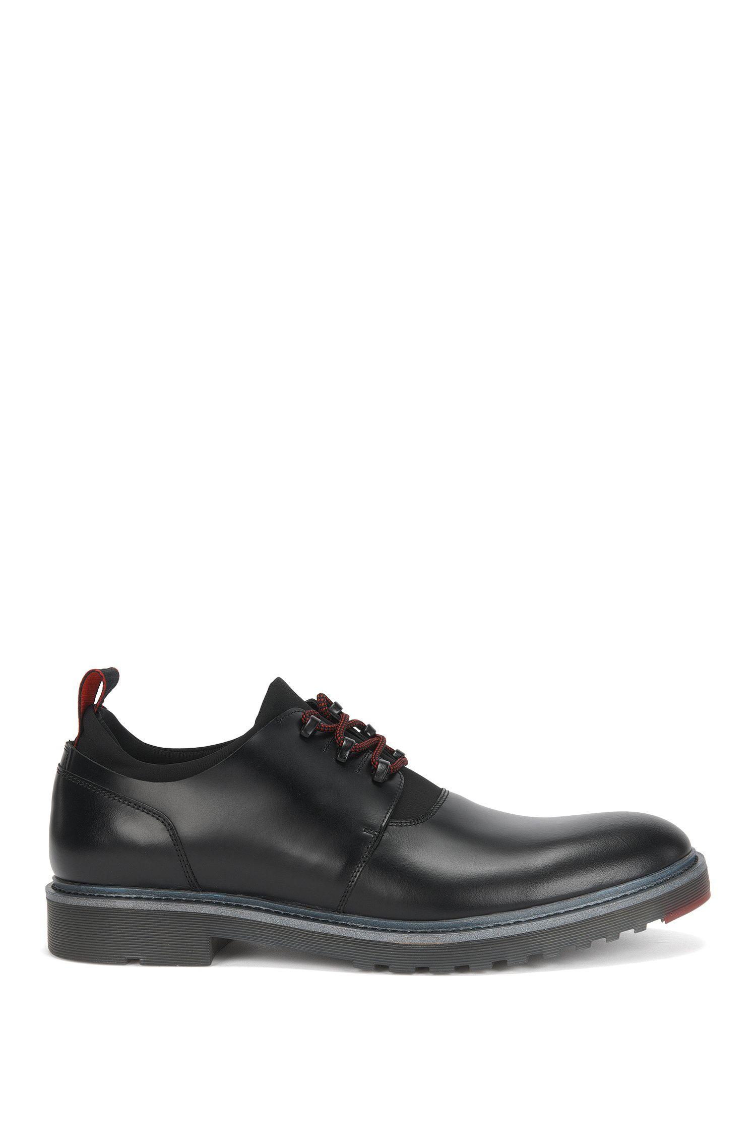 Chaussures derby lacées en cuir brossé