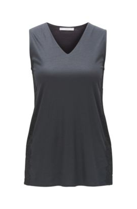 V-neck top in soft modal, Dark Blue