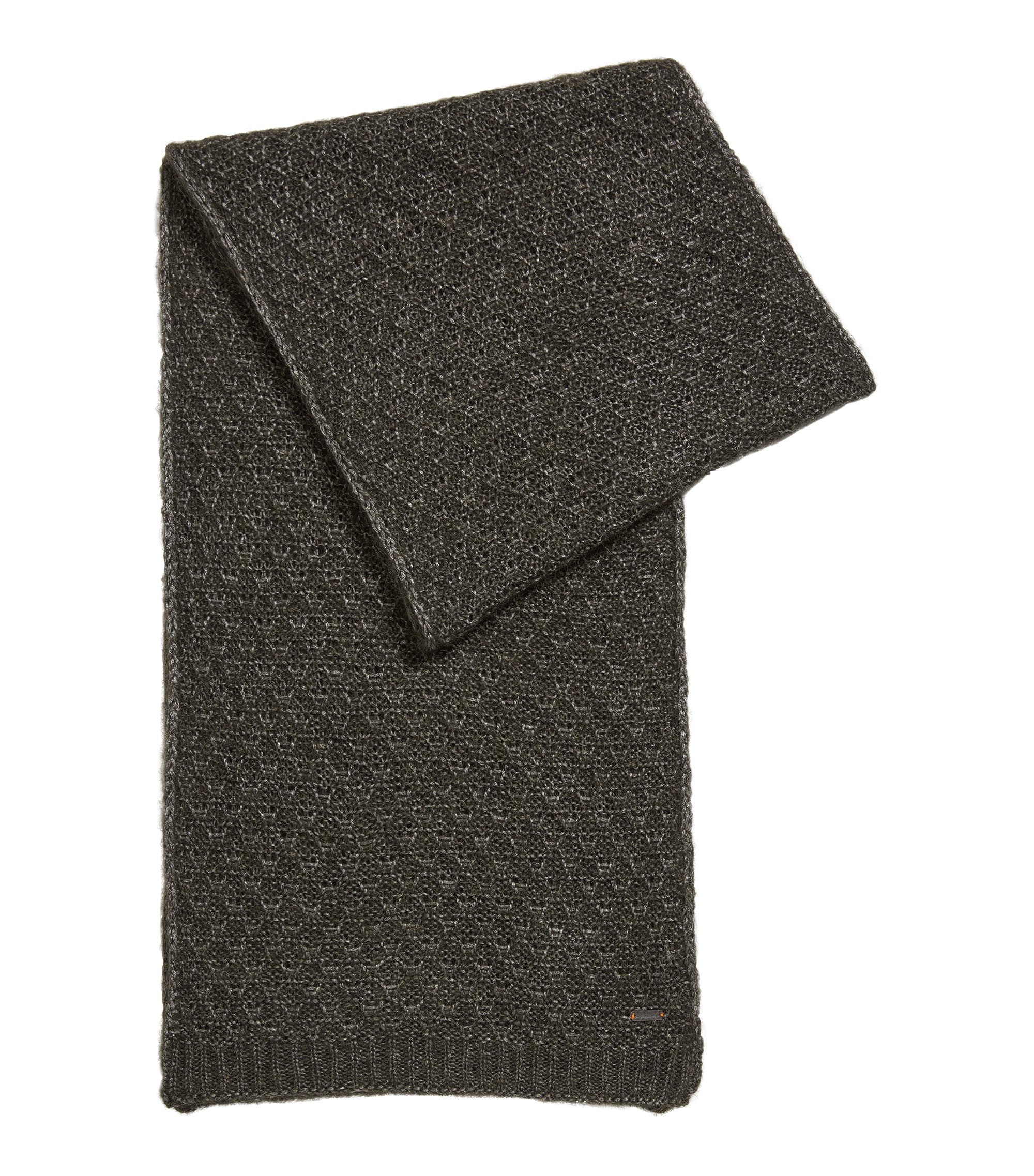 Knitted scarf in mixed yarns, Khaki