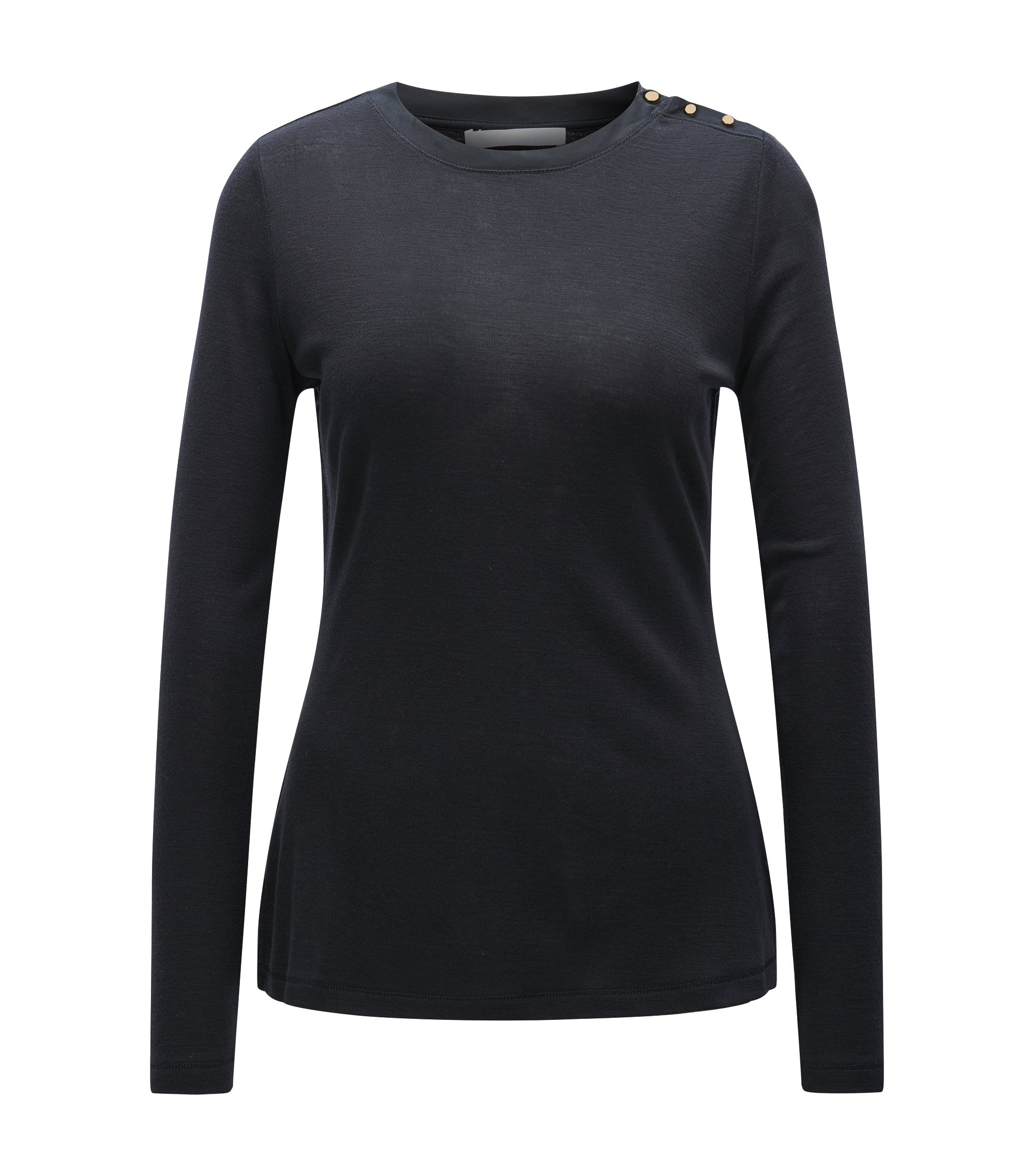Long-sleeved jersey top with silk neckline, Dark Blue