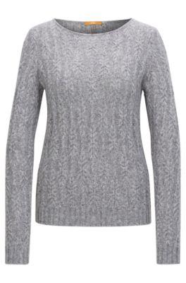 Regular-Fit Pullover aus strukturiertem Material-Mix mit Alpakawolle und Wolle, Grau