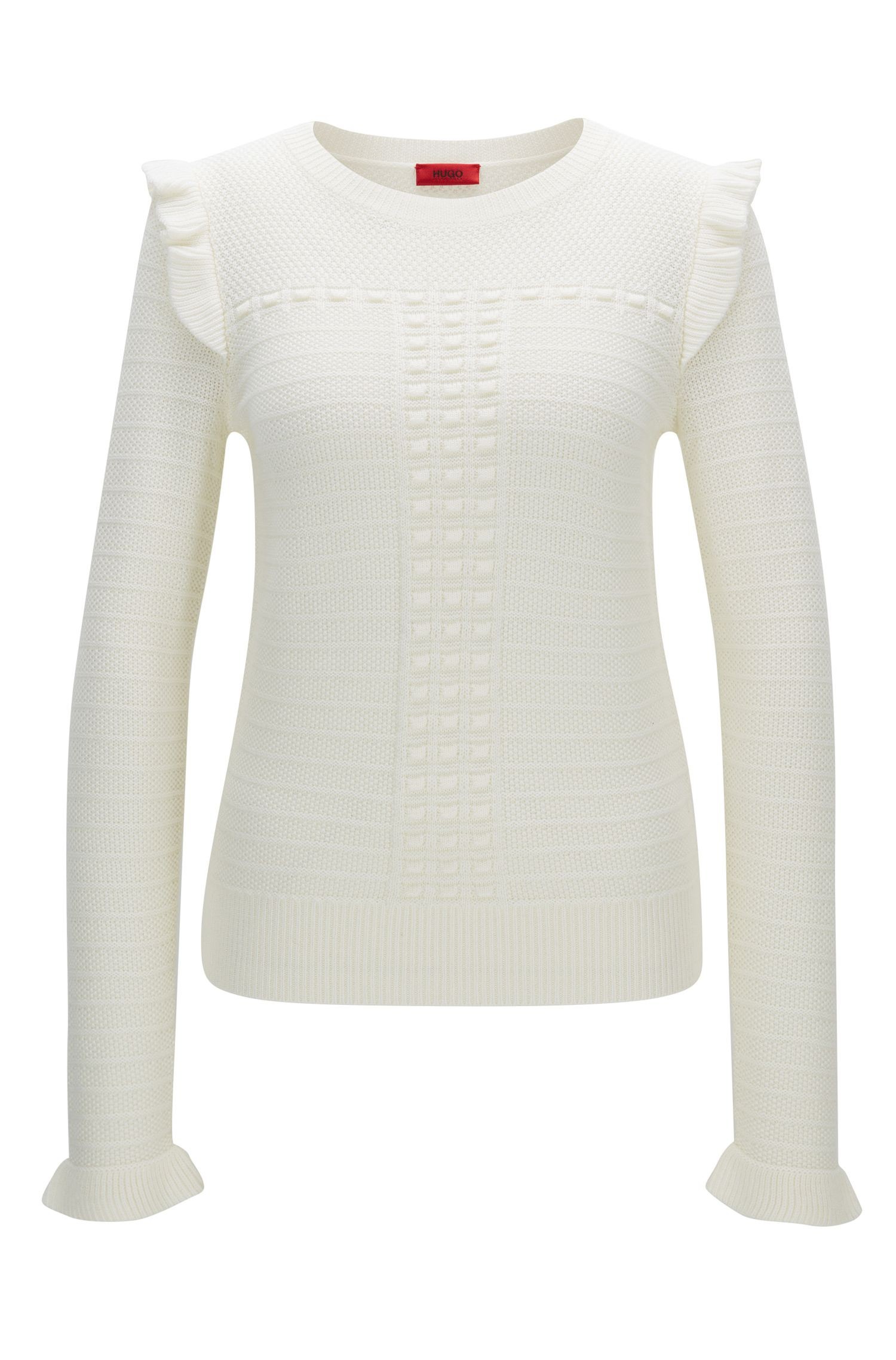 Structured sweater in merino wool with ruffle detail