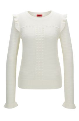 Structured sweater in merino wool with ruffle detail, Natural