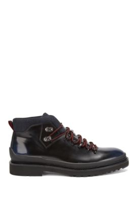 Lace-up desert boots in brush-off leather, Dark Blue