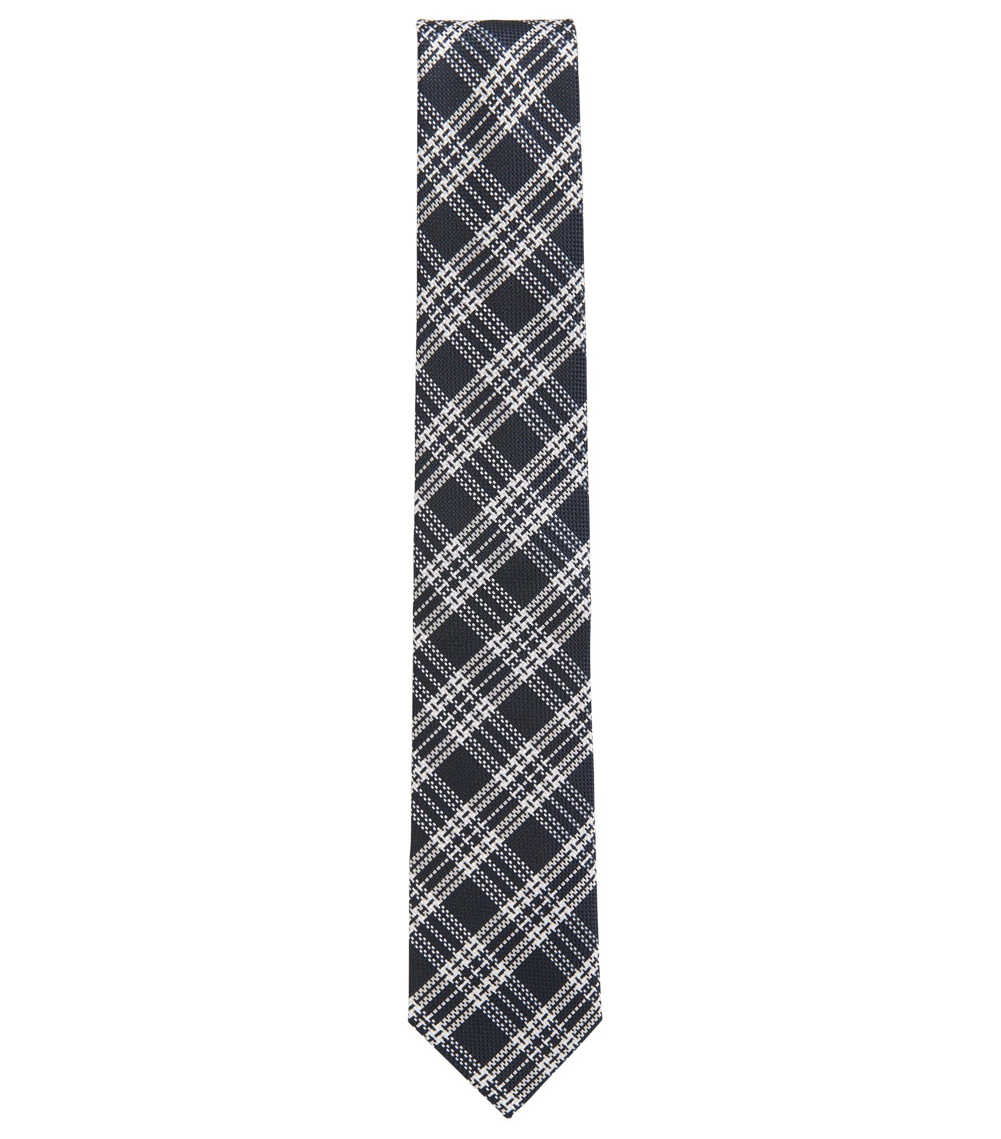 Geruite stropdas in een zijdejacquard, Donkerblauw