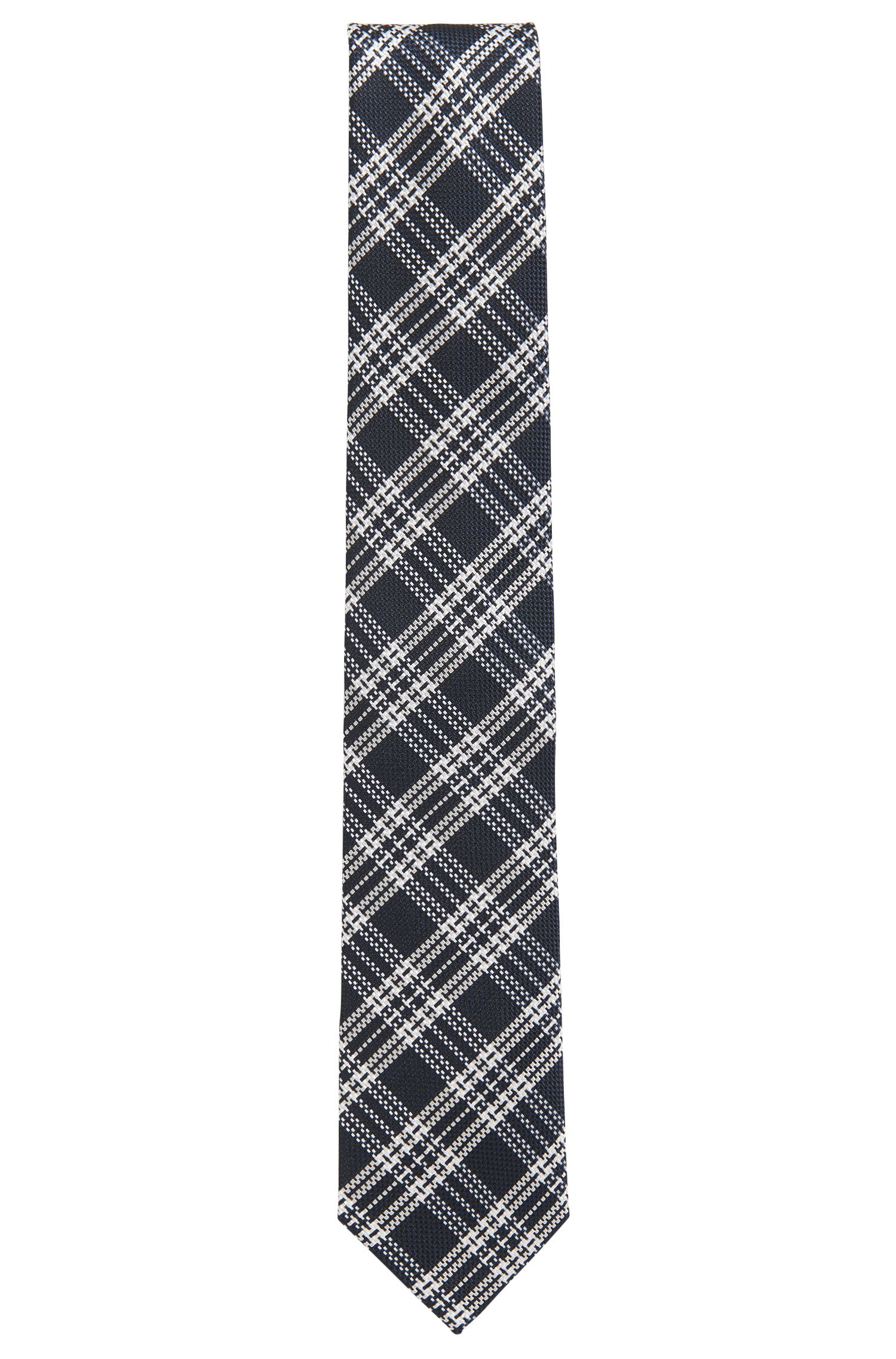 Corbata de cuadros en tejido jacquard de seda