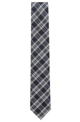 Cravate en jacquard de soie à carreaux, Bleu foncé