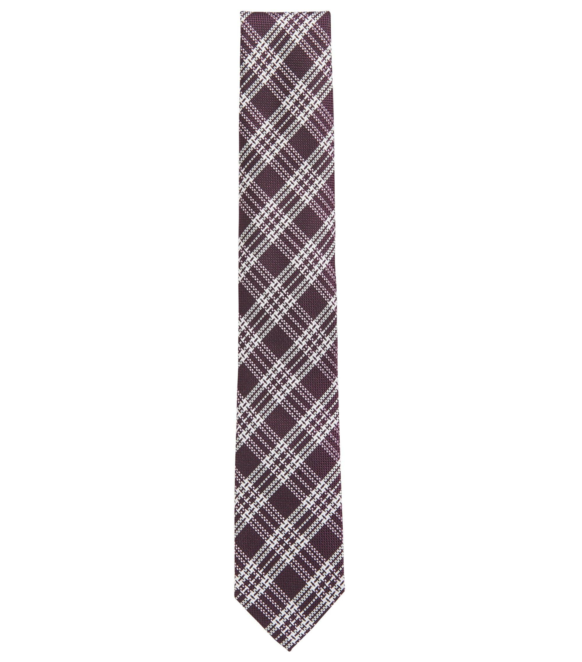 Karierte Krawatte aus Seiden-Jacquard, Dunkelrosa