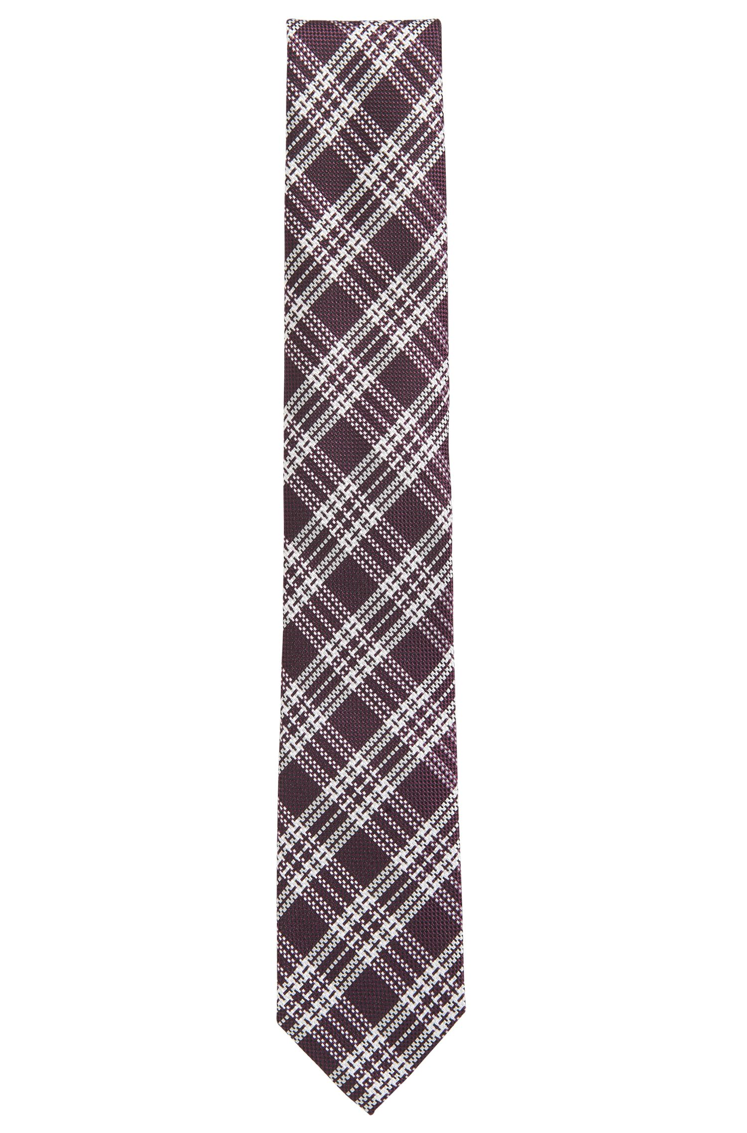 Checked tie in silk jacquard