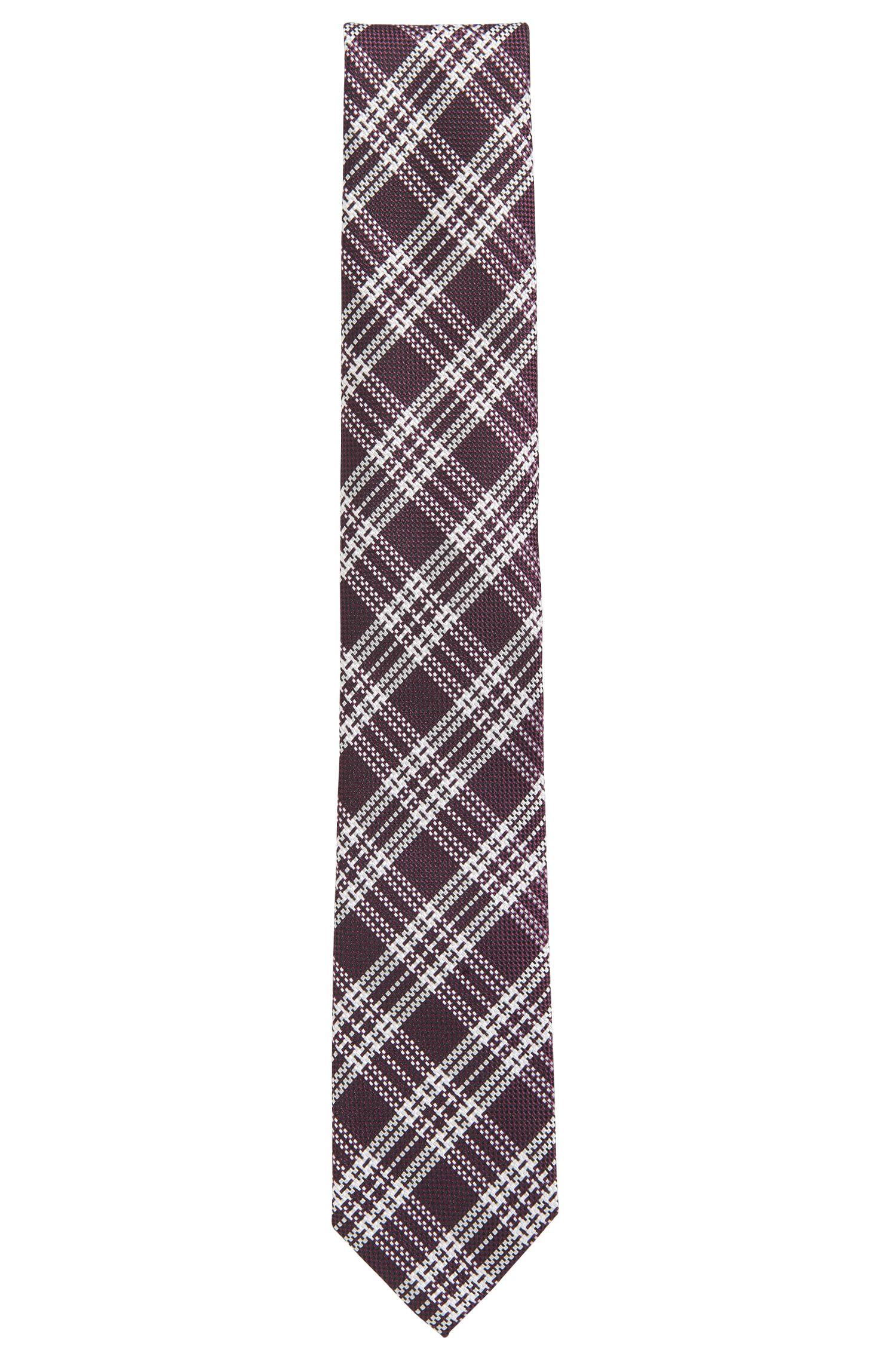 Cravate en jacquard de soie à carreaux