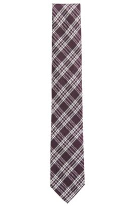 Checked tie in silk jacquard, Dark pink