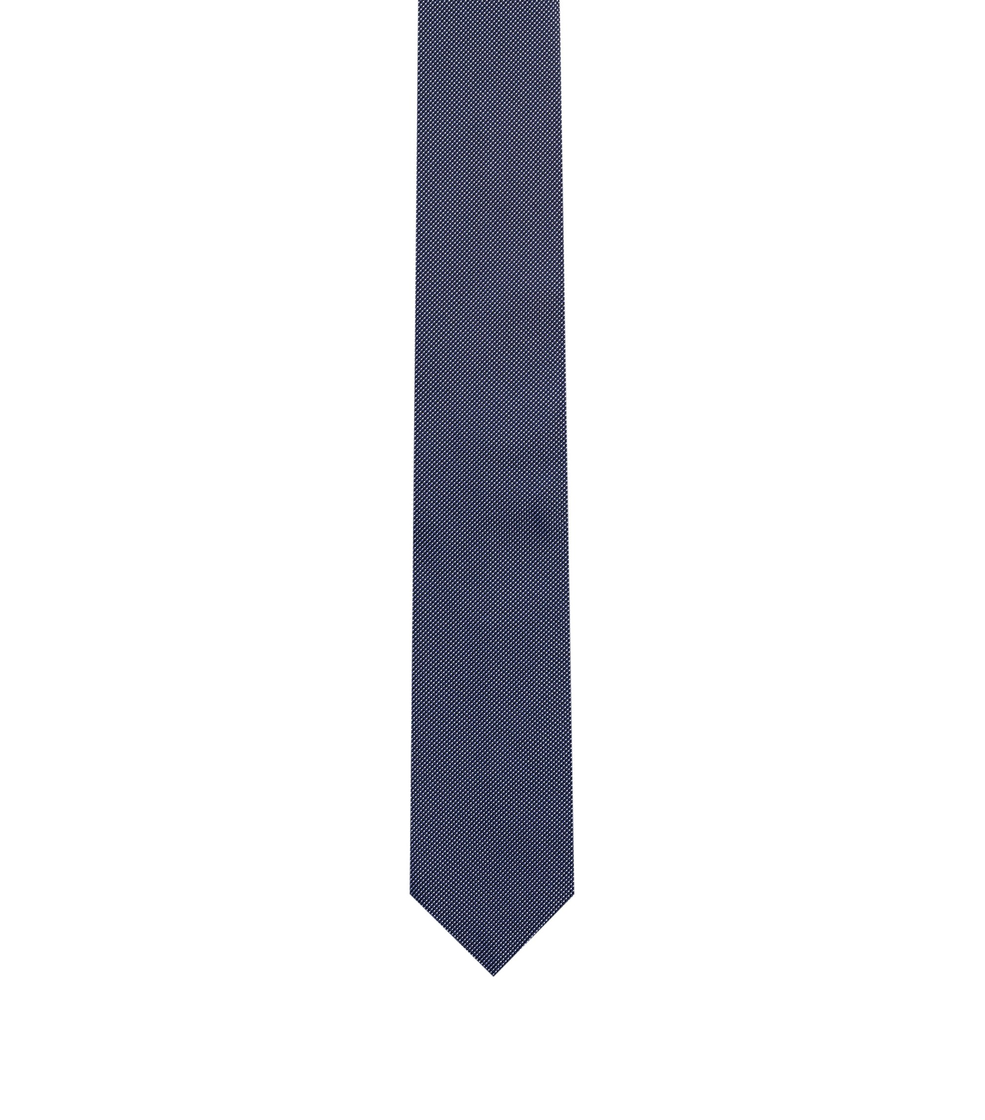 Pure-silk tie in micro-dot jacquard, Dark Blue