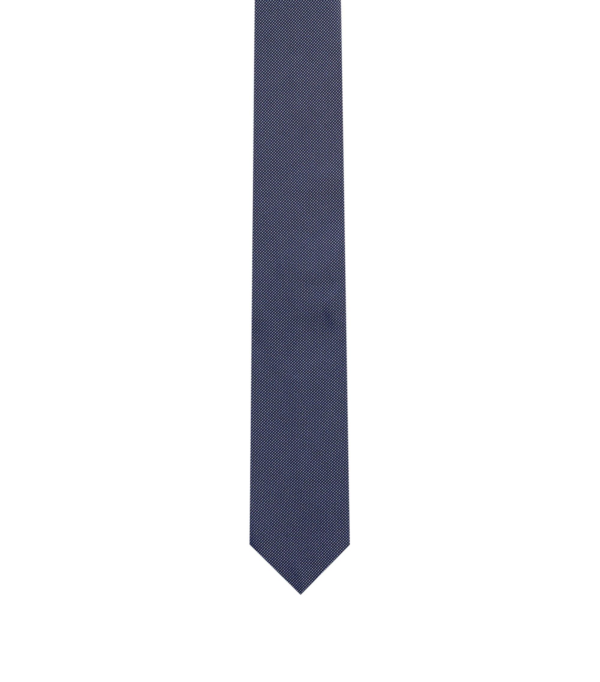 Stropdas in een jacquard van zuivere zijde met microstippen, Donkerblauw