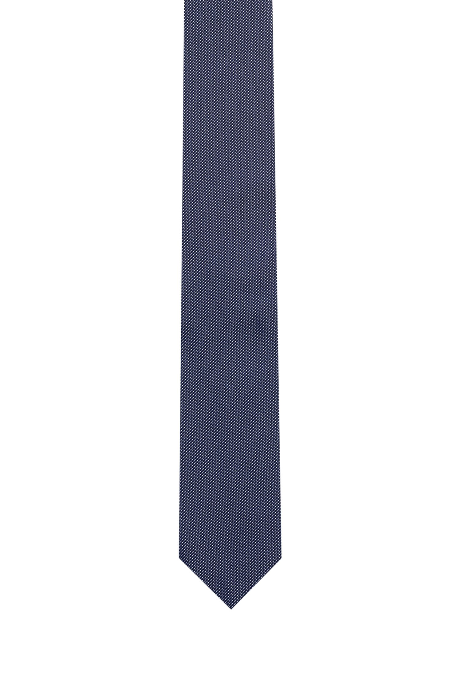 Cravate jacquard en pure soie à micro-pois, Bleu foncé
