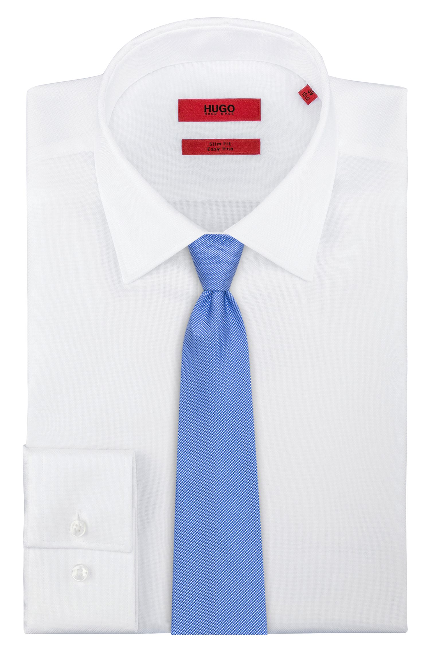 Krawatte aus Seiden-Jacquard mit dezentem Punkte-Muster, Blau