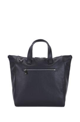 Tote Bag aus Leder mit verstellbarem Schulterriemen, Schwarz