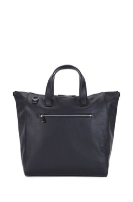 Leather tote bag with adjustable shoulder strap, Black
