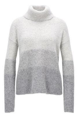 Colourblock roll-neck sweater in mixed knits, Grey