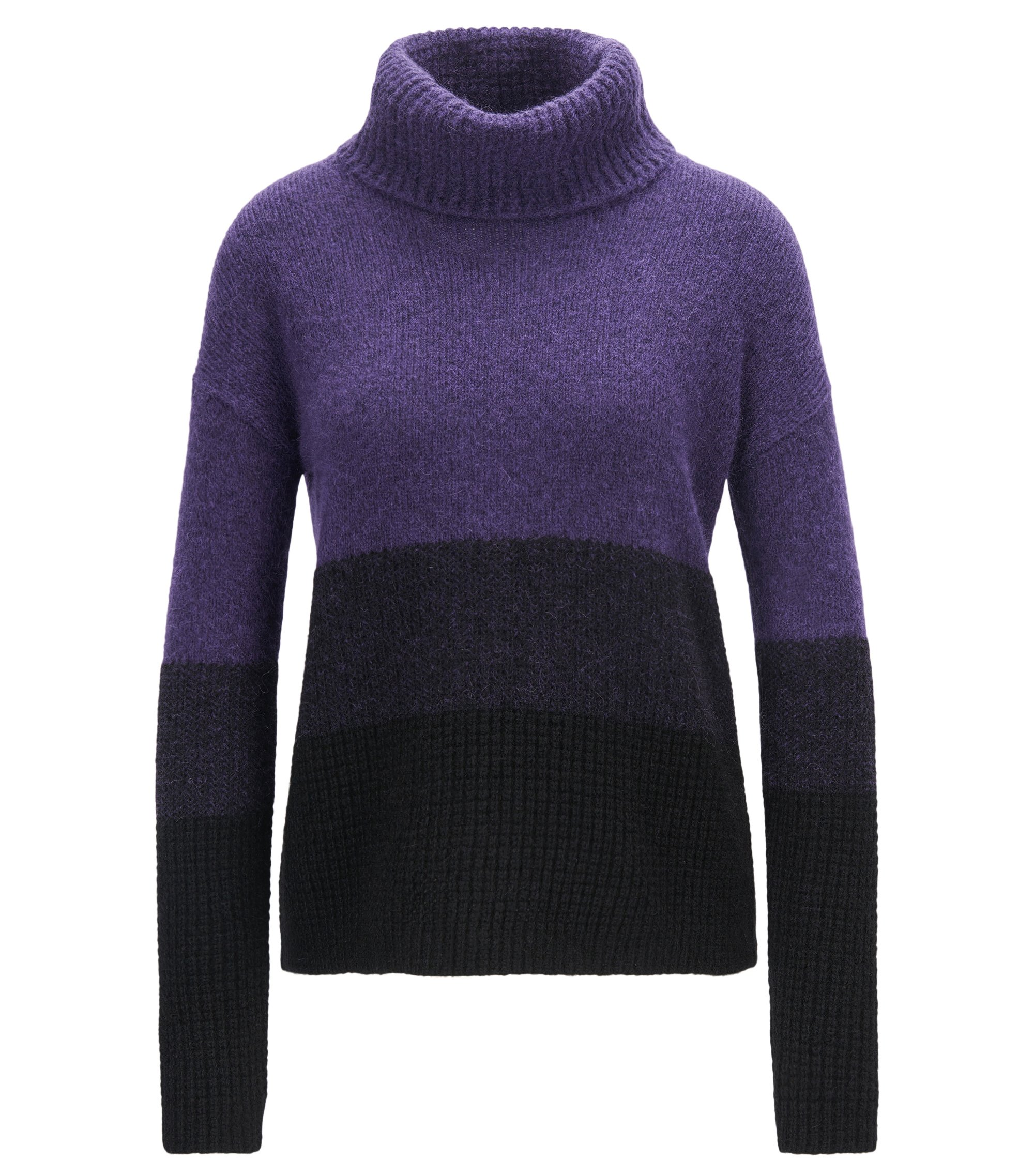 Colourblock roll-neck sweater in mixed knits, Dark Purple