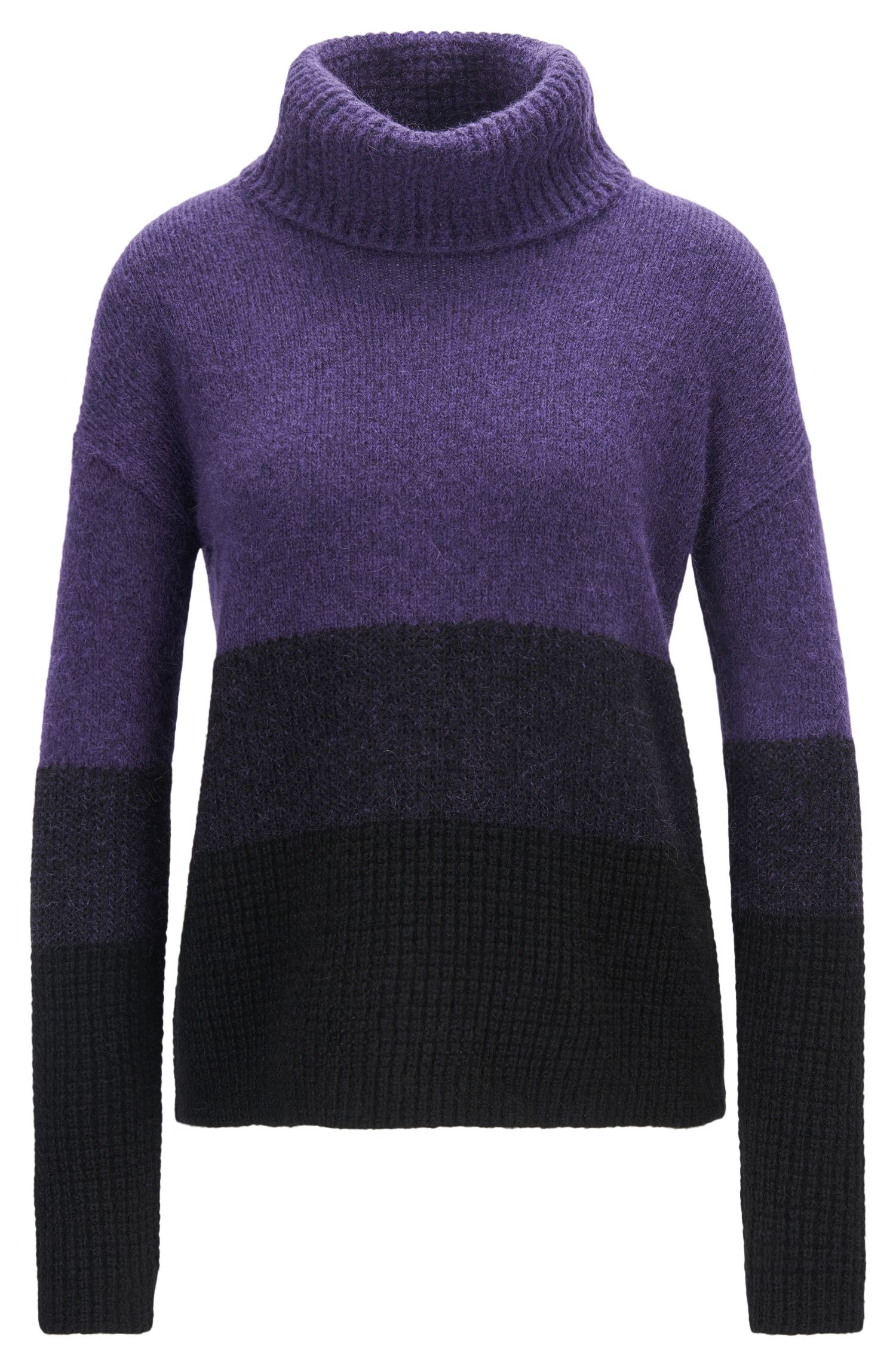 Colourblock roll-neck sweater in mixed knits
