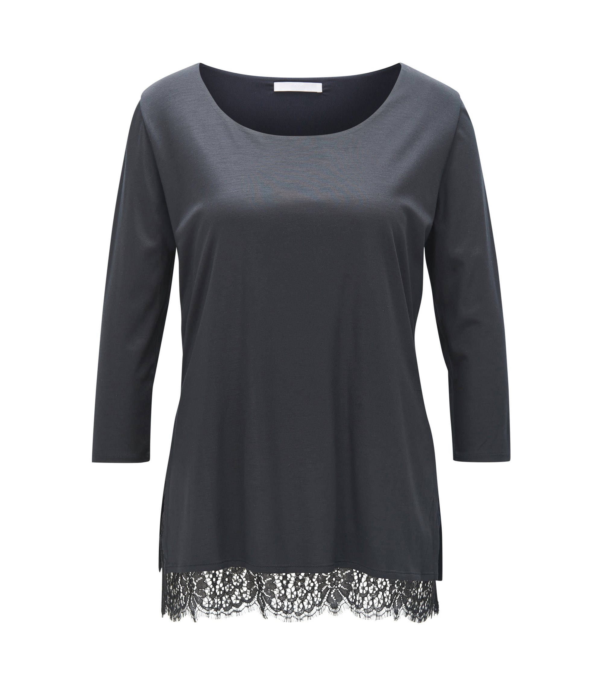 Regular-fit top in super-soft modal, Dark Blue