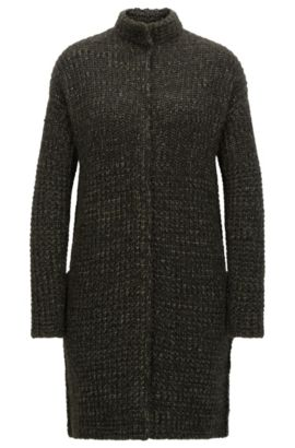 Relaxed-fit coat in structured yarns, Khaki