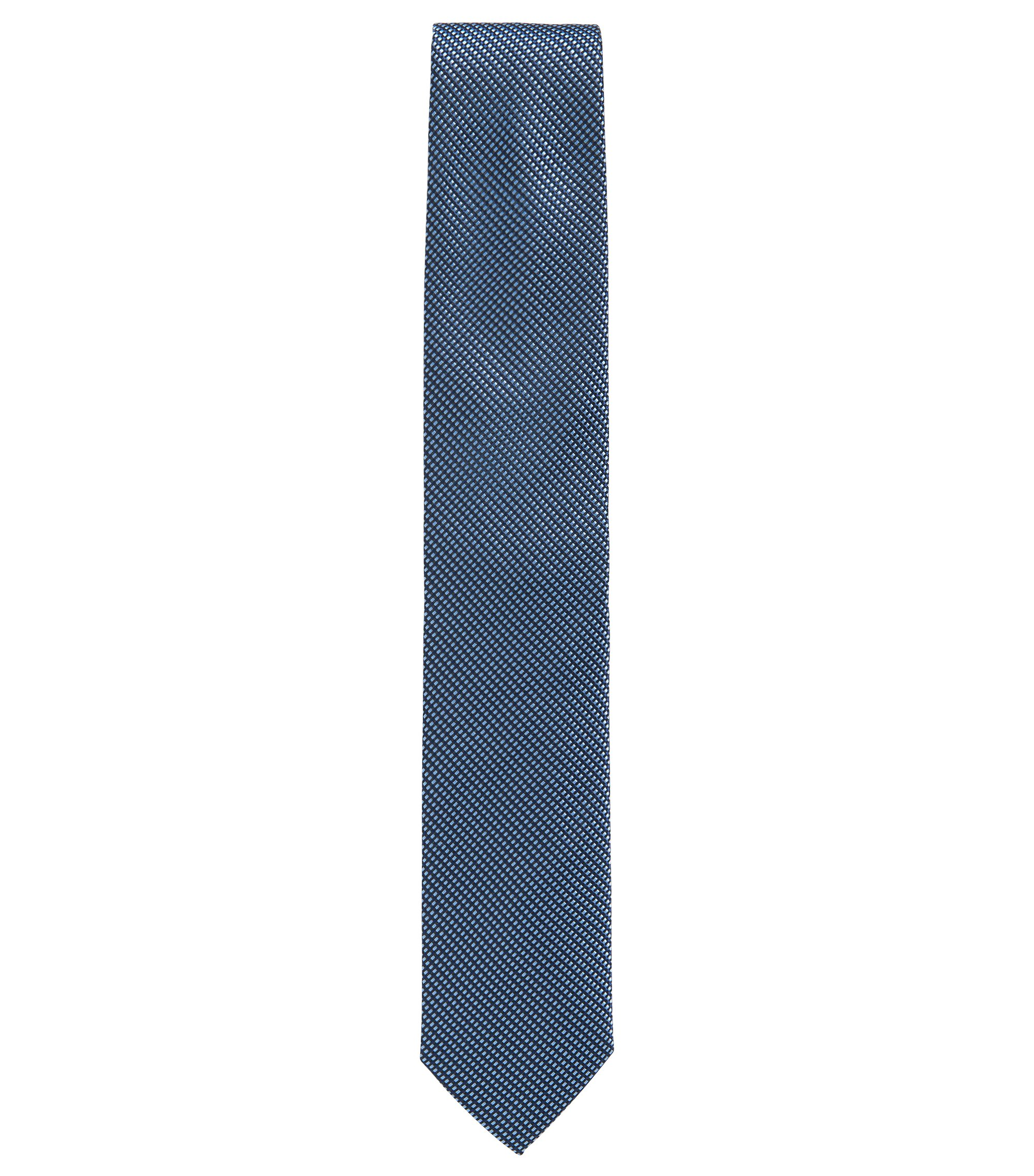 Diagonal micro-pattern tie in silk jacquard, Dark Blue