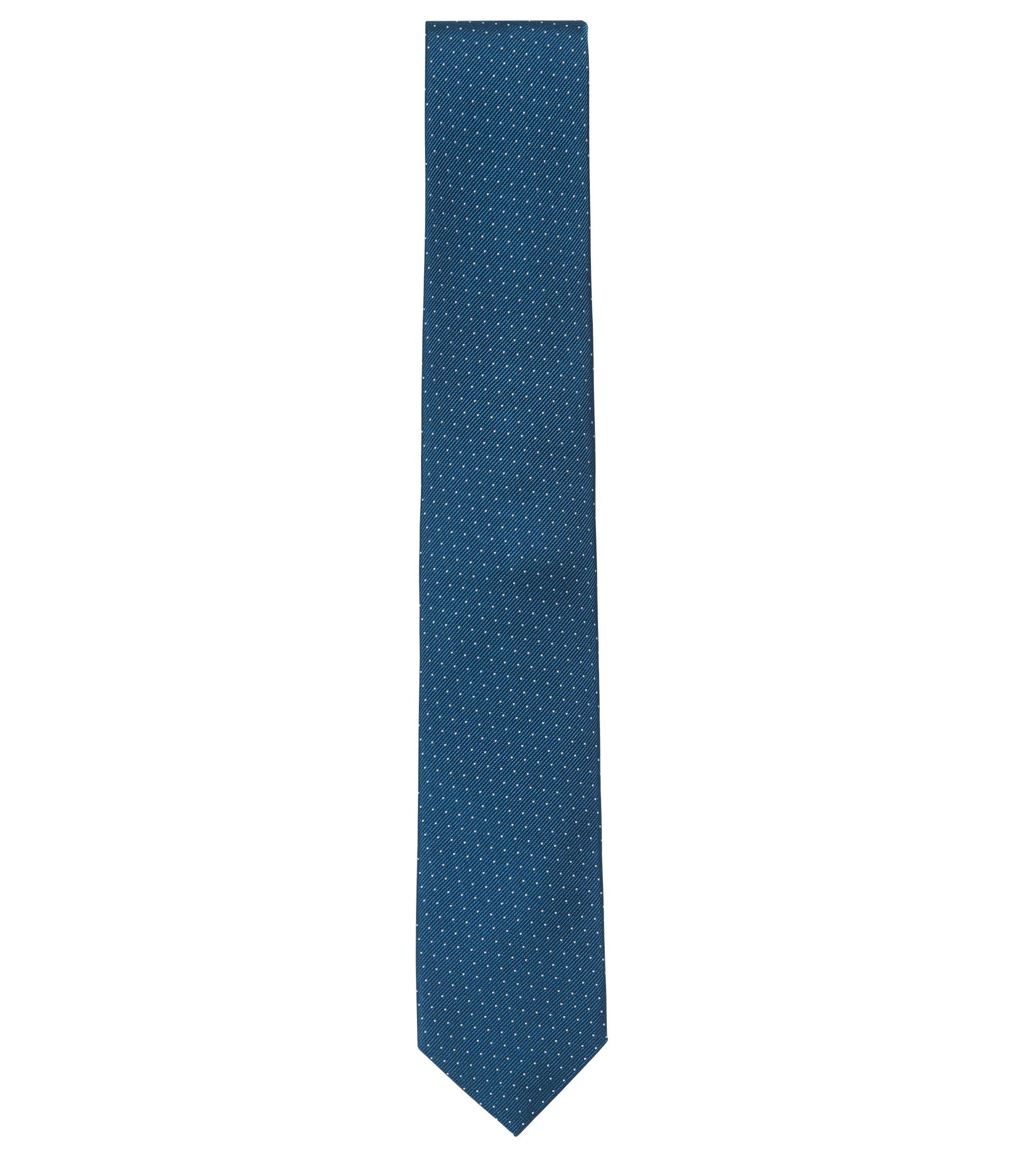 Fein gepunktete Krawatte aus edler Seide, Dunkelblau