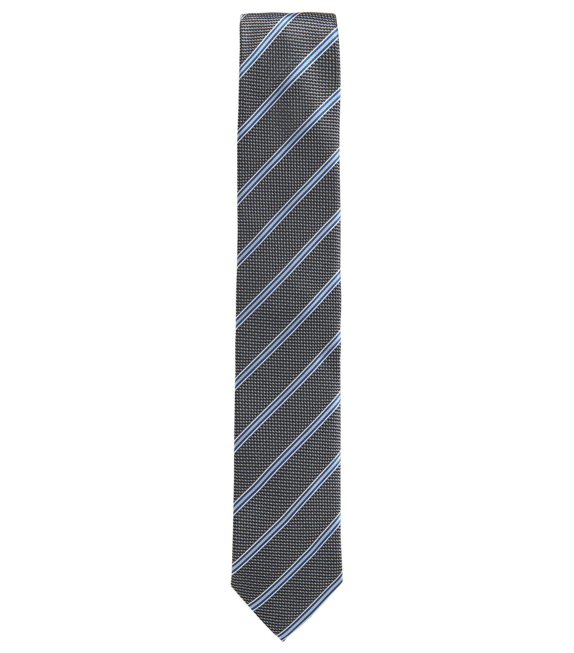 Cravate en jacquard de soie à rayures et micro-motif, Noir