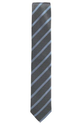 Striped tie with micro pattern in silk jacquard, Black
