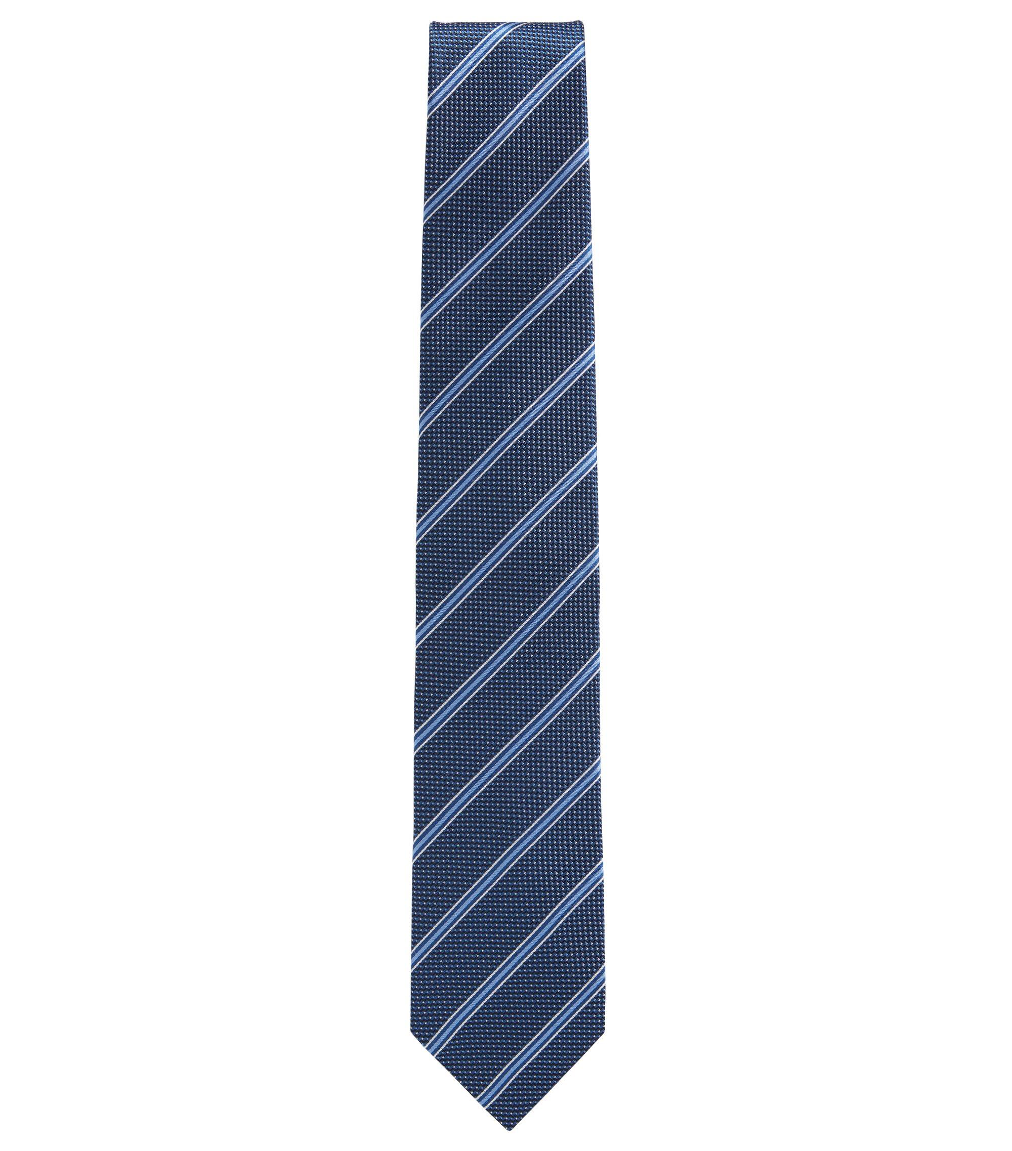 Gestreifte Krawatte aus gemustertem Seiden-Jacquard, Dunkelblau