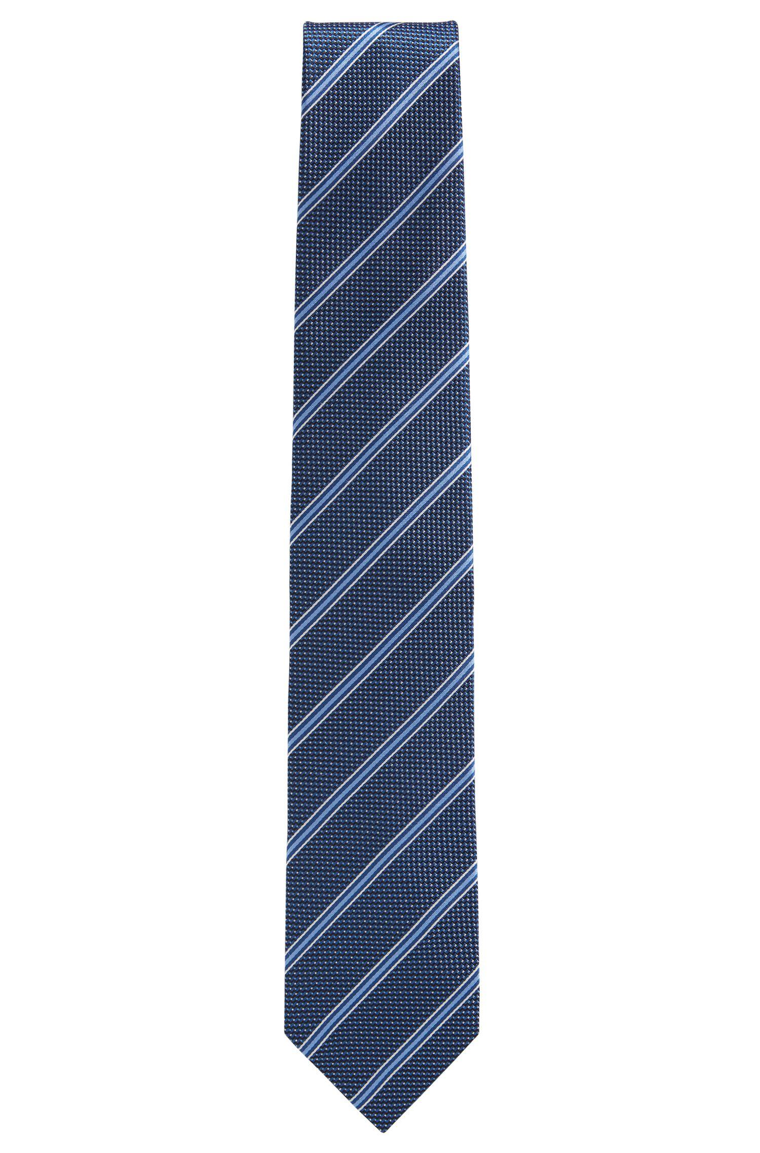 Cravate en jacquard de soie à rayures et micro-motif