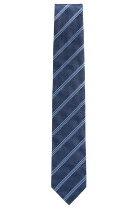 Striped tie with micro pattern in silk jacquard, Dark Blue