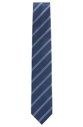 Cravate en jacquard de soie à rayures et micro-motif, Bleu foncé
