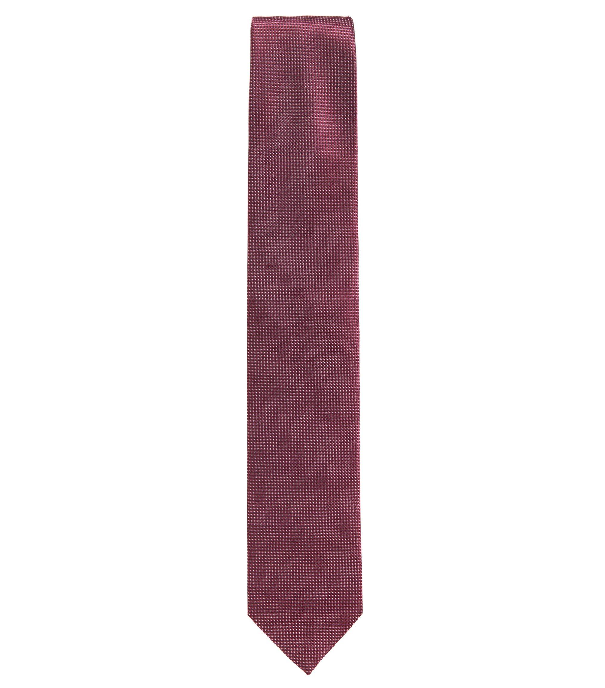 Cravatta in pura seta jacquard con microdisegni, Rosa scuro
