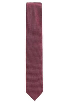 Cravate jacquard à micro-motif en pure soie, Rose foncé