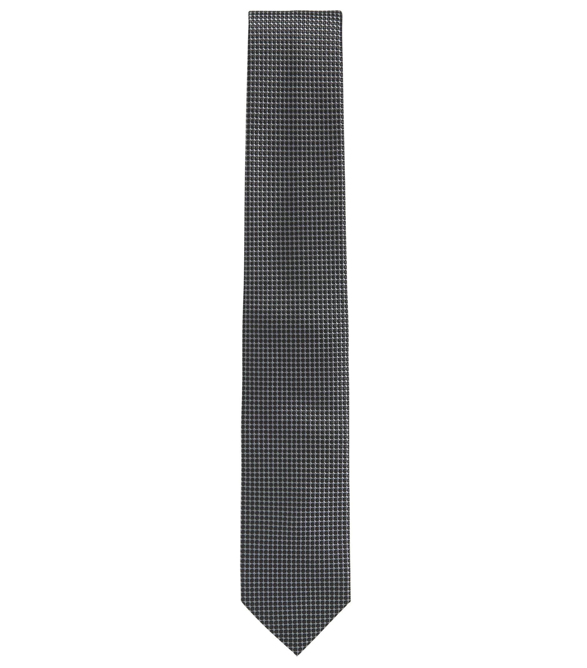 Cravate en soie somptueuse à effet relief , Noir