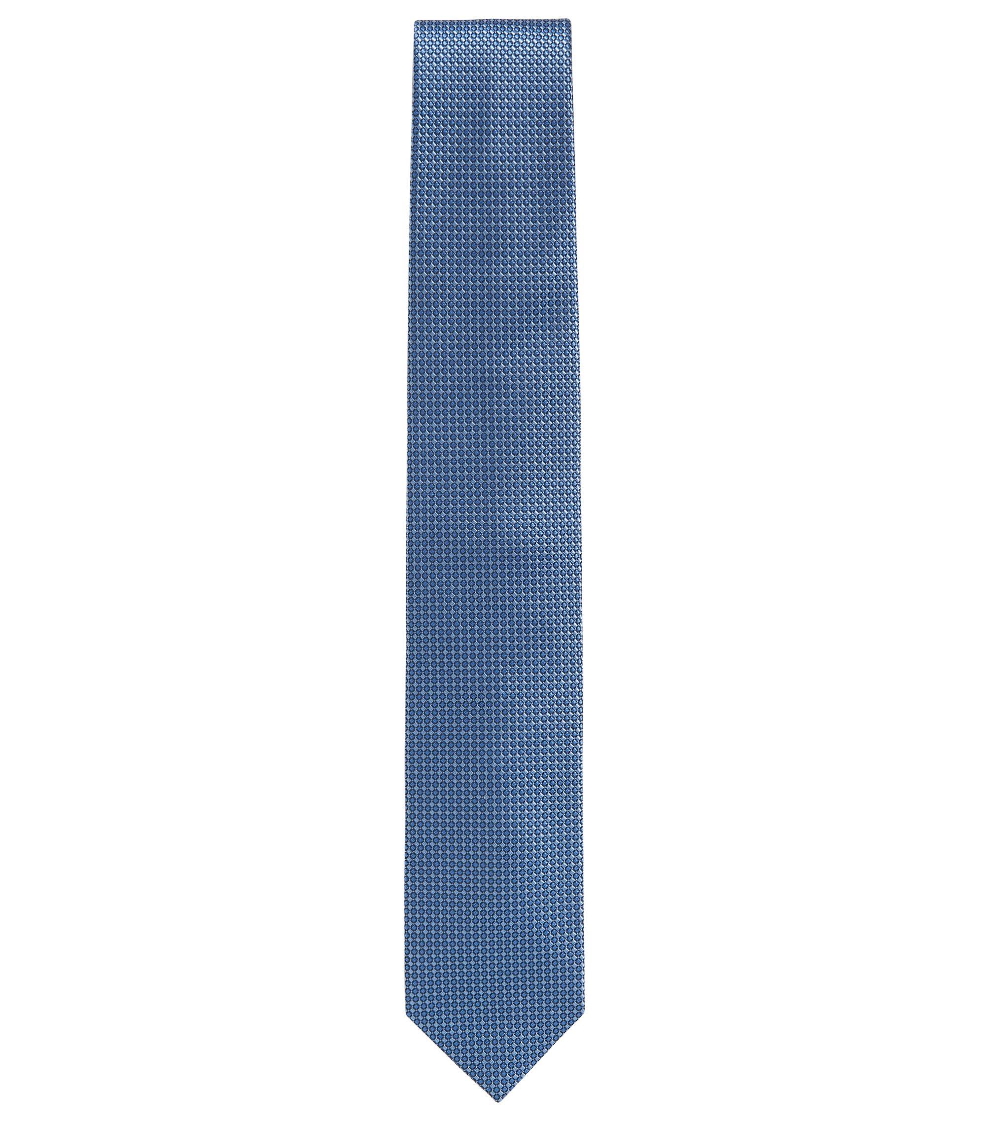 Raised-jacquard tie in rich silk , Light Blue