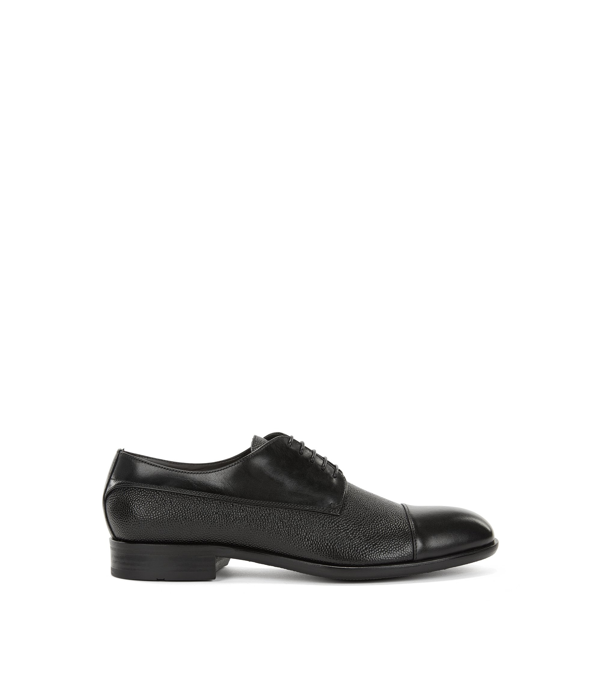 Leather Derby shoes with embossed details, Black