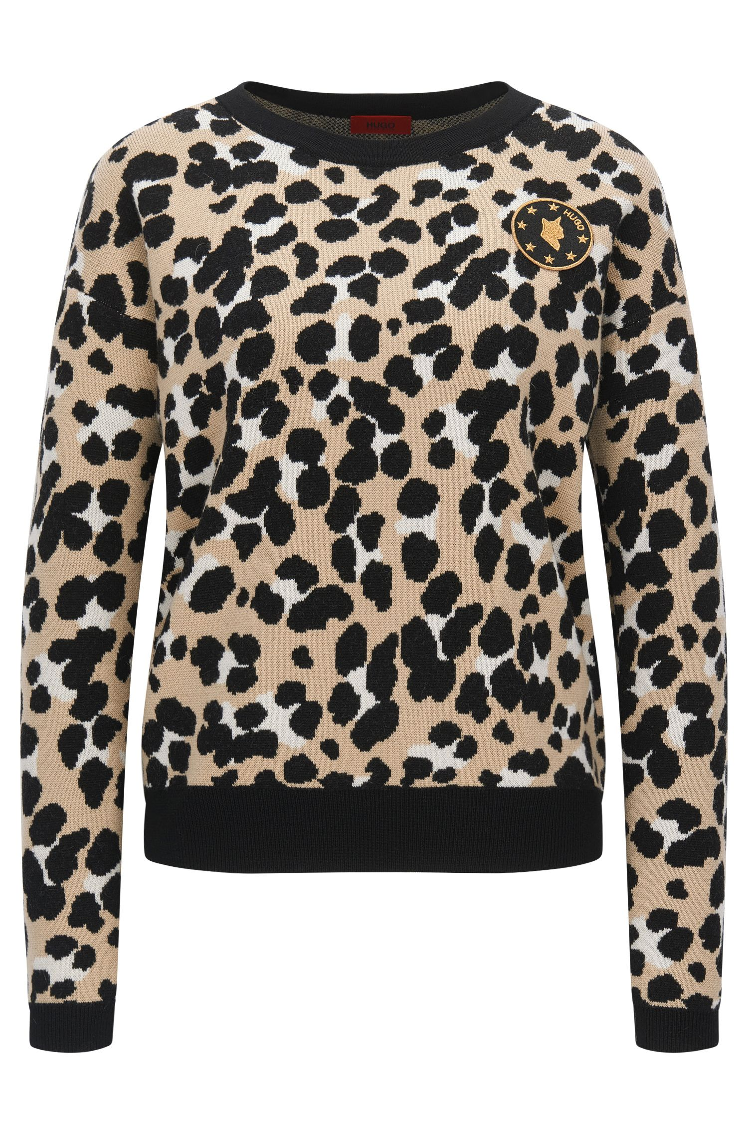 Cheetah-pattern sweater in virgin wool