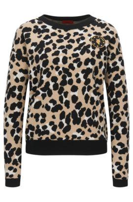 Pullover aus Schurwolle mit Geparden-Muster, Gemustert