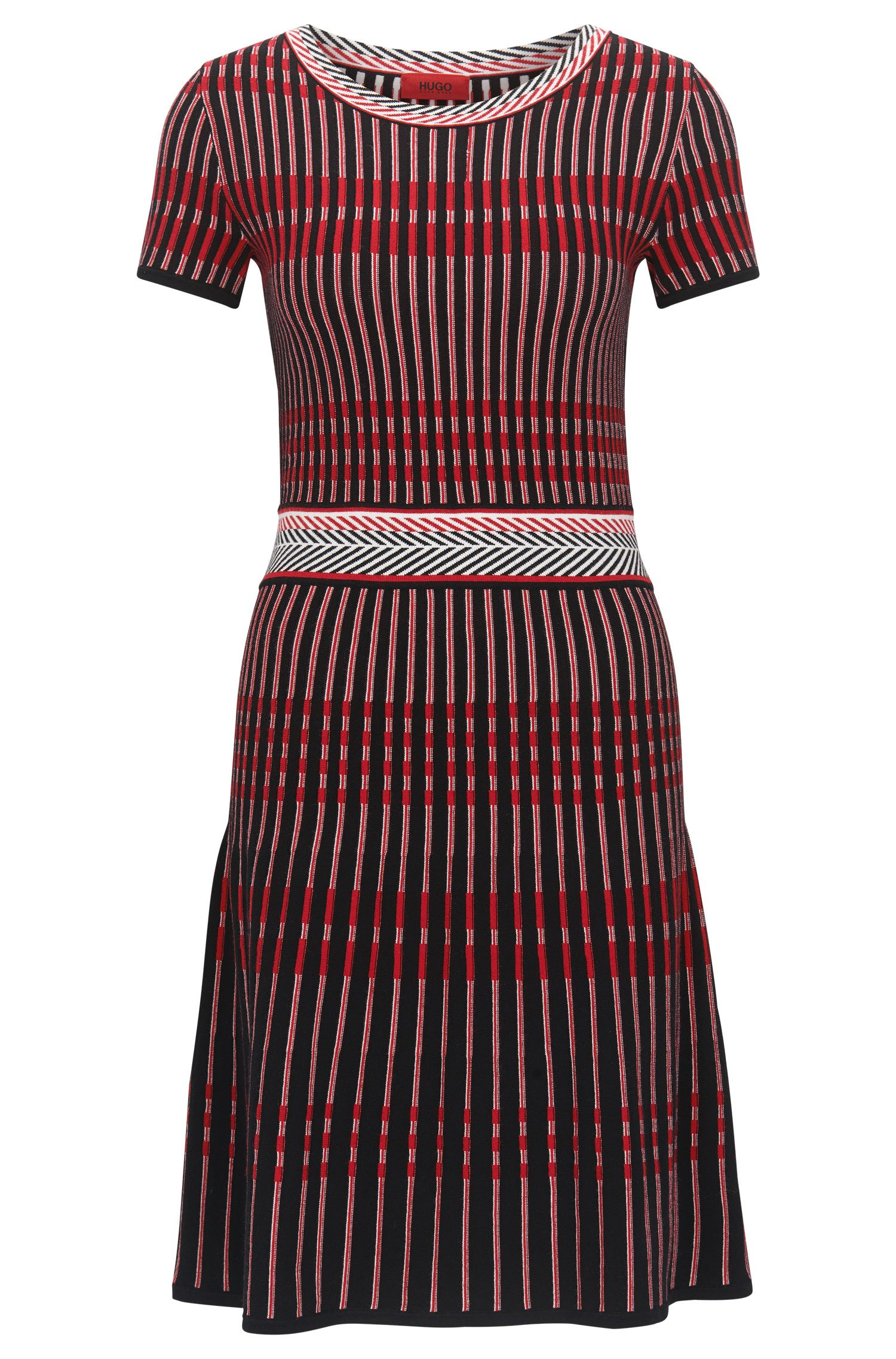 Slim-fit dress in knitted jacquard