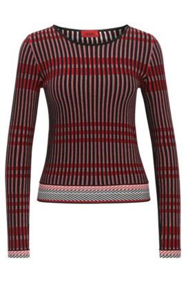 Pull Slim Fit en jacquard tricolore, Fantaisie