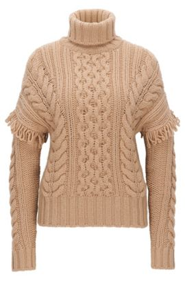 Turtle-neck sweater in virgin wool, Light Brown