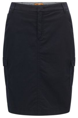 Slim-fit pencil skirt in a cotton blend, Blu scuro