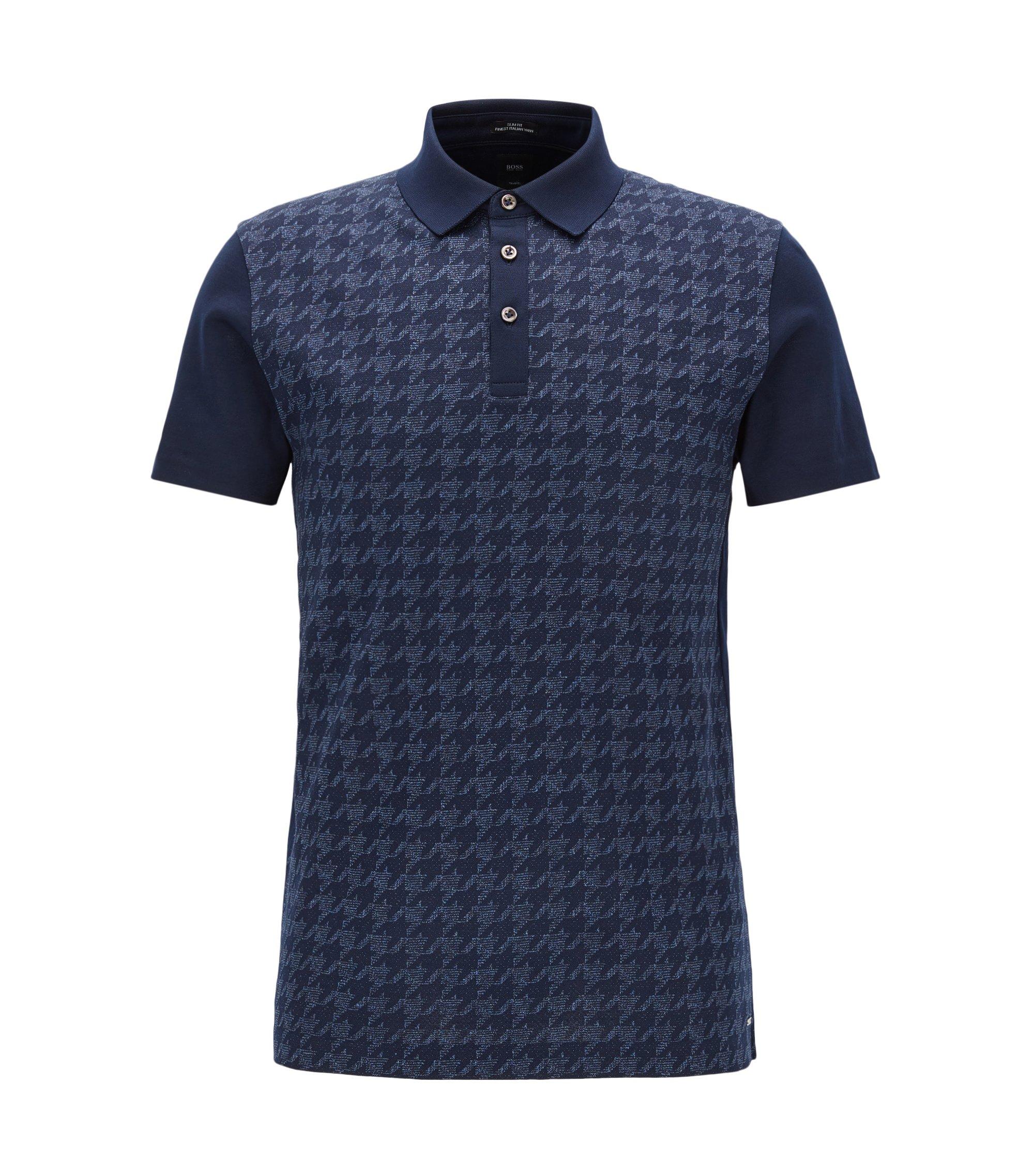 Polo Slim Fit en coton italien, Bleu foncé