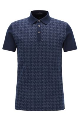 Slim-Fit Poloshirt aus italienischer Baumwolle, Dunkelblau