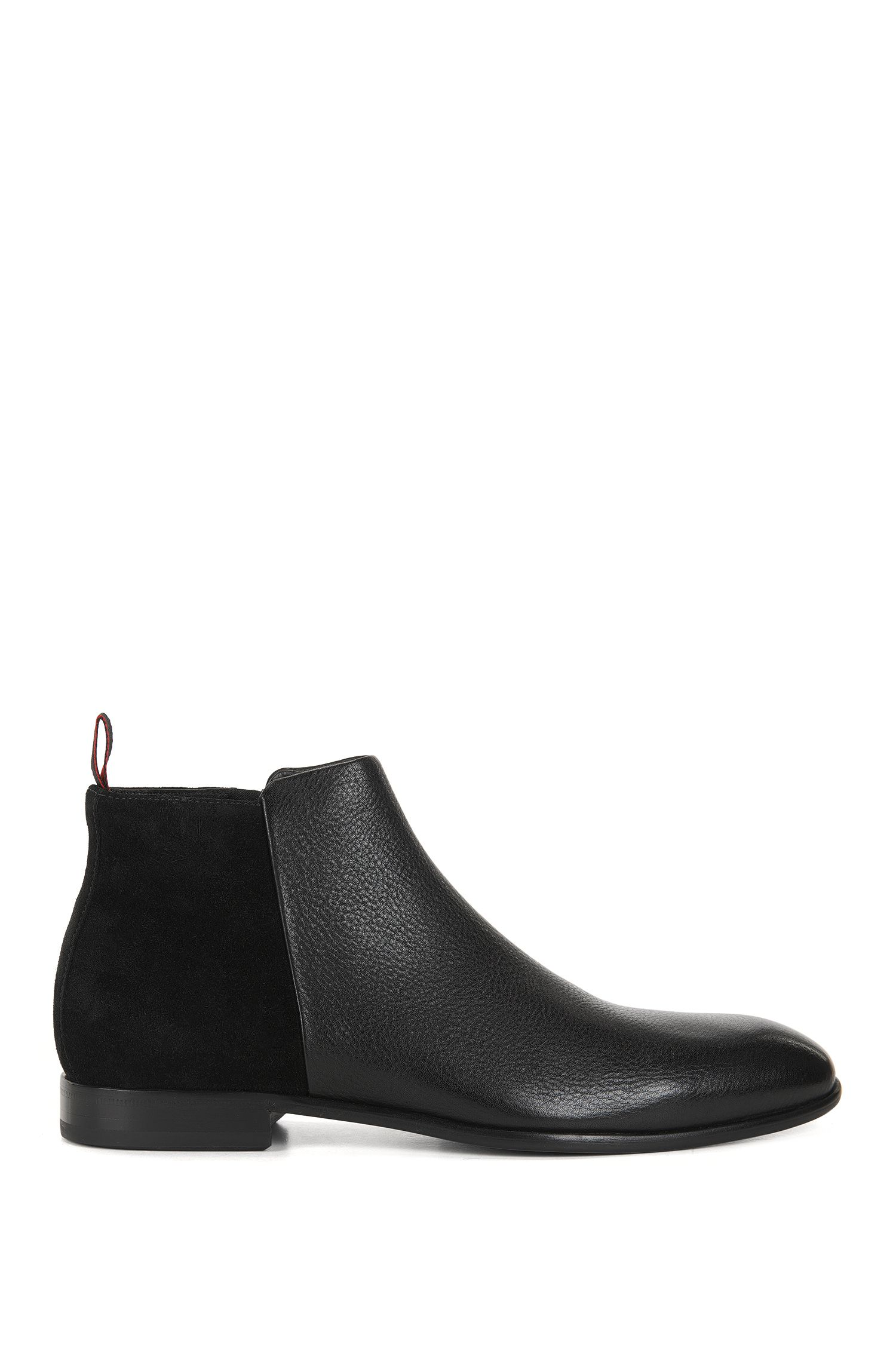 Formal boots in grained leather and suede